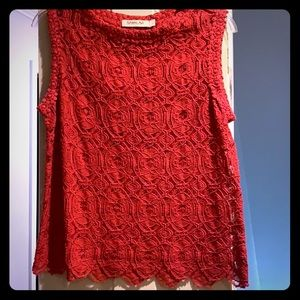 Tops - Pink/red color lace top with detailed bottom